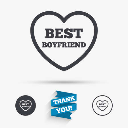 boyfriend: Best boyfriend sign icon. Heart love symbol. Flat icons. Buttons with icons. Thank you ribbon. Vector