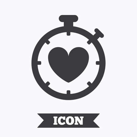 palpitation: Heart Timer sign icon. Stopwatch symbol. Heartbeat palpitation. Graphic design element. Flat heart timer symbol on white background. Vector