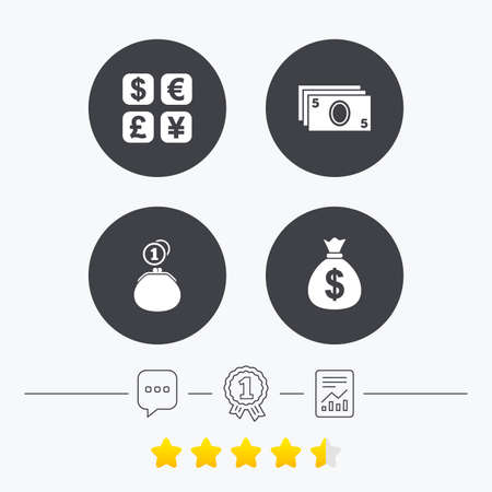 currency converter: Currency exchange icon. Cash money bag and wallet with coins signs. Dollar, euro, pound, yen symbols. Chat, award medal and report linear icons. Star vote ranking. Vector