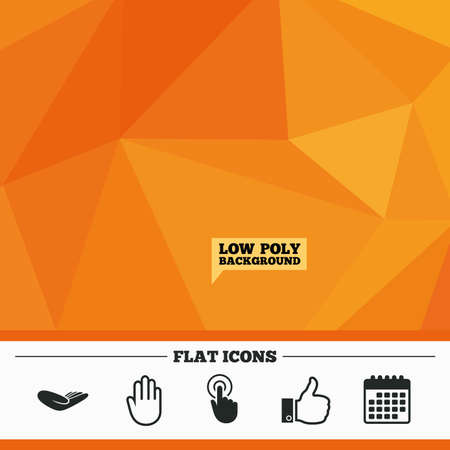 date palm: Triangular low poly orange background. Hand icons. Like thumb up symbol. Click here press sign. Helping donation hand. Calendar flat icon. Vector Illustration