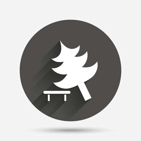 break down: Falling tree sign icon. Caution break down christmas tree symbol. Circle flat button with shadow. Vector