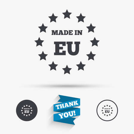 Made in EU icon. Export production symbol. Product created in European Union sign. Flat icons. Buttons with icons. Thank you ribbon. Vector