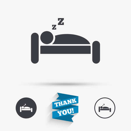 zzz: Hotel apartment sign icon. Travel rest place. Sleeper symbol. Flat icons. Buttons with icons. Thank you ribbon. Vector