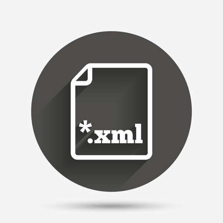 xml: File document icon. Download XML button. XML file extension symbol. Circle flat button with shadow. Vector