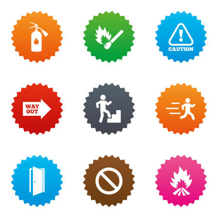 emergency exit label: Fire safety, emergency icons. Fire extinguisher, exit and attention signs. Caution, water drop and way out symbols. Stars label button with flat icons. Vector
