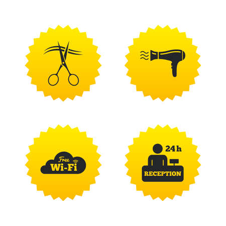Hotel services icons. Wi-fi, Hairdryer in room signs. Wireless Network. Hairdresser or barbershop symbol. Reception registration table. Yellow stars labels with flat icons. Vector
