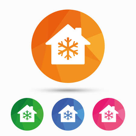 indoors: Air conditioning indoors icon. Snowflake sign. Triangular low poly button with flat icon. Vector