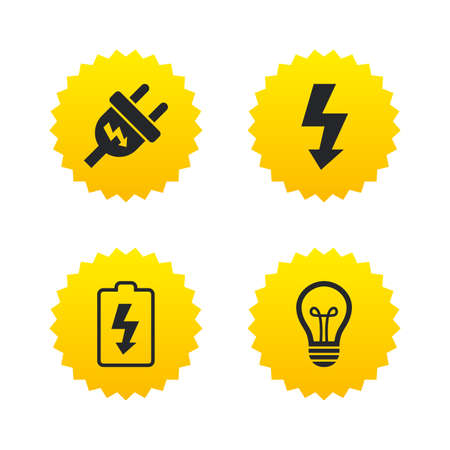 spiral cord: Electric plug icon. Lamp bulb and battery symbols. Low electricity and idea signs. Yellow stars labels with flat icons. Vector