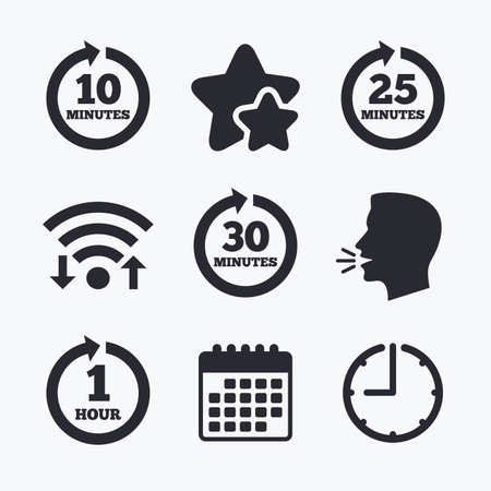 25 30: Every 10, 25, 30 minutes and 1 hour icons. Full rotation arrow symbols. Iterative process signs. Wifi internet, favorite stars, calendar and clock. Talking head. Vector