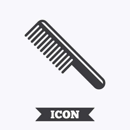 comb hair: Comb hair sign icon. Barber symbol. Graphic design element. Flat comb symbol on white background. Vector