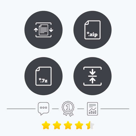zipped: Archive file icons. Compressed zipped document signs. Data compression symbols. Chat, award medal and report linear icons. Star vote ranking. Vector
