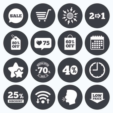 low price: Calendar, wifi and clock symbols. Like counter, stars symbols. Sale discounts icon. Shopping cart, coupon and low price signs. 25, 40 and 60 percent off. Special offer symbols. Talking head, go to web symbols. Vector