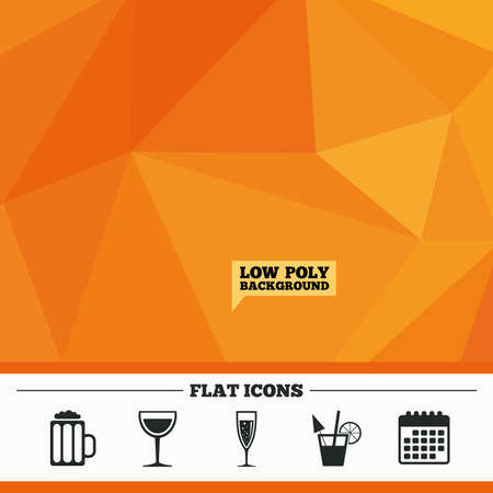 champagne orange: Triangular low poly orange background. Alcoholic drinks icons. Champagne sparkling wine with bubbles and beer symbols. Wine glass and cocktail signs. Calendar flat icon. Vector