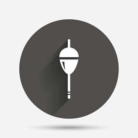 fishing bobber: Fishing sign icon. Float bobber symbol. Fishing tackle. Circle flat button with shadow. Vector