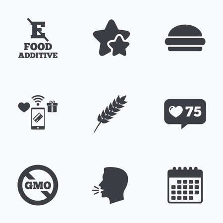 stabilizers: Food additive icon. Hamburger fast food sign. Gluten free and No GMO symbols. Without E acid stabilizers. Flat talking head, calendar icons. Stars, like counter icons. Vector