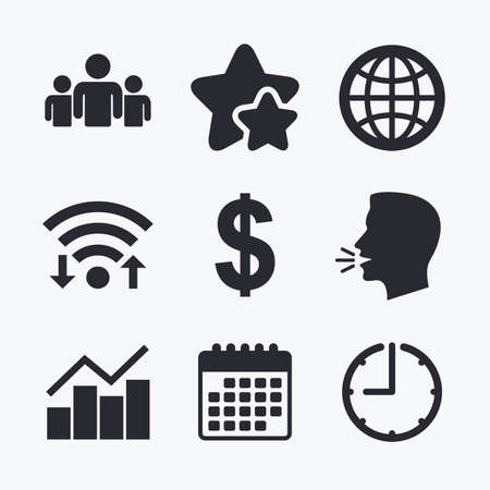 friend chart: Business icons. Graph chart and globe signs. Dollar currency and group of people symbols. Wifi internet, favorite stars, calendar and clock. Talking head. Vector