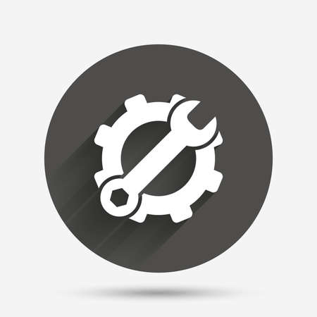 hardware configuration: Service icon. Wrench key with cogwheel gear sign. Circle flat button with shadow. Vector Illustration
