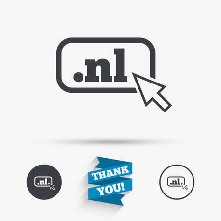 dns: Domain NL sign icon. Top-level internet domain symbol with cursor pointer. Flat icons. Buttons with icons. Thank you ribbon. Vector