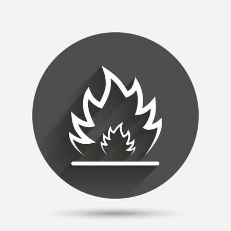 fire circle: Fire flame sign icon. Heat symbol. Stop fire. Escape from fire. Circle flat button with shadow. Vector Illustration