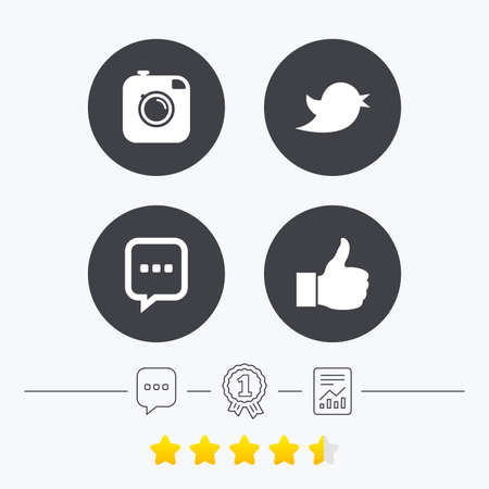 medal like: Hipster photo camera icon. Like and Chat speech bubble sign. Hand thumb up. Bird symbol. Chat, award medal and report linear icons. Star vote ranking. Vector Illustration