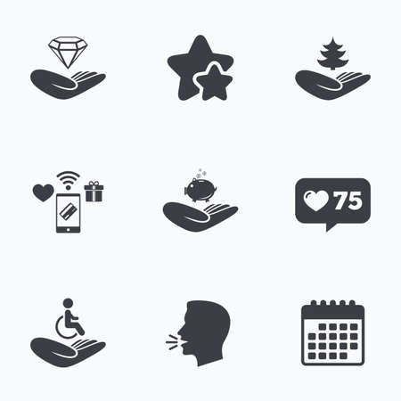 head protection: Helping hands icons. Protection and insurance symbols. Financial money savings, save forest. Diamond brilliant sign. Disabled human. Flat talking head, calendar icons. Stars, like counter icons. Vector