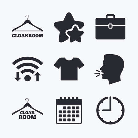 cloakroom: Cloakroom icons. Hanger wardrobe signs. T-shirt clothes and baggage symbols. Wifi internet, favorite stars, calendar and clock. Talking head. Vector