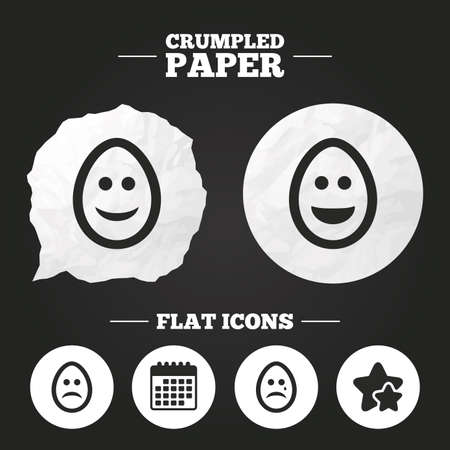 pasch: Crumpled paper speech bubble. Eggs happy and sad faces icons. Crying smiley with tear symbols. Tradition Easter Pasch signs. Paper button. Vector