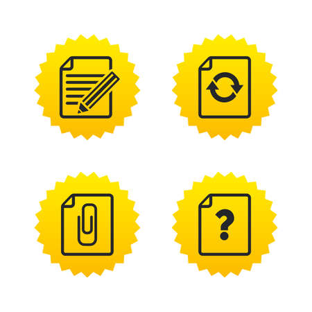 attach: File refresh icons. Question help and pencil edit symbols. Paper clip attach sign. Yellow stars labels with flat icons. Vector