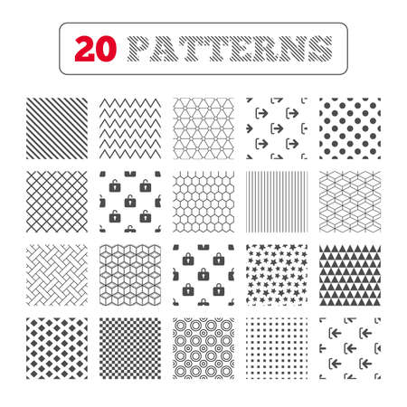 sign out: Ornament patterns, diagonal stripes and stars. Login and Logout icons. Sign in or Sign out symbols. Lock icon. Geometric textures. Vector
