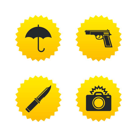 edged: Gun weapon icon.Knife, umbrella and photo camera with flash signs. Edged hunting equipment. Prohibition objects. Yellow stars labels with flat icons. Vector