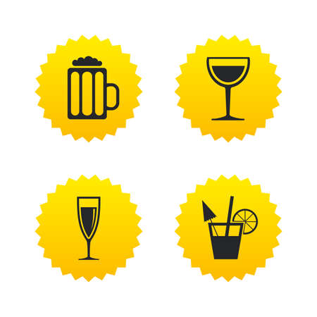 Alcoholic drinks icons. Champagne sparkling wine and beer symbols. Wine glass and cocktail signs. Yellow stars labels with flat icons. Vector