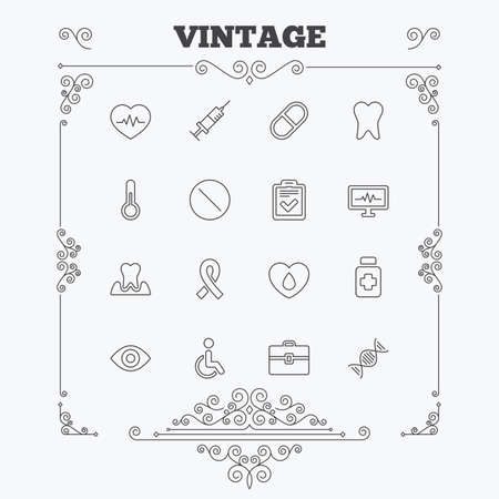 dna graph: Medicine icons. Syringe, heartbeat and pills symbols. Tooth health, eye and blood donate. Awareness ribbon. Vintage ornament patterns. Decoration design elements. Vector