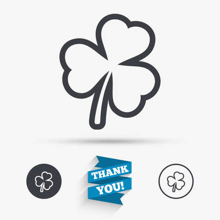 clover buttons: Clover with three leaves sign icon. Trifoliate clover. Saint Patrick trefoil symbol. Flat icons. Buttons with icons. Thank you ribbon. Vector Illustration