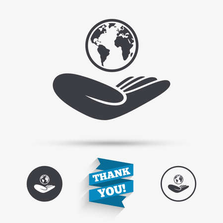 world peace: World insurance sign. Hand holds planet symbol. Travel insurance. World peace. Flat icons. Buttons with icons. Thank you ribbon. Vector