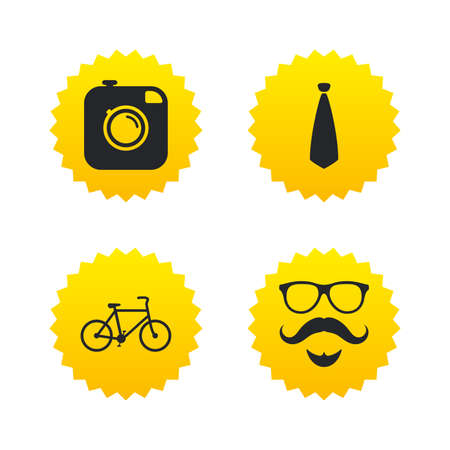 Hipster photo camera. Mustache with beard icon. Glasses and tie symbols. Bicycle sign. Yellow stars labels with flat icons. Vector Ilustrace