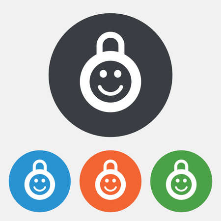 child protection: Child lock icon. Locker with smile symbol. Child protection. Round circle buttons. Vector