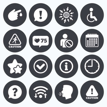 head injury: Calendar, wifi and clock symbols. Like counter, stars symbols. Caution and attention icons. Question mark and information signs. Injury and disabled person symbols. Talking head, go to web symbols. Vector