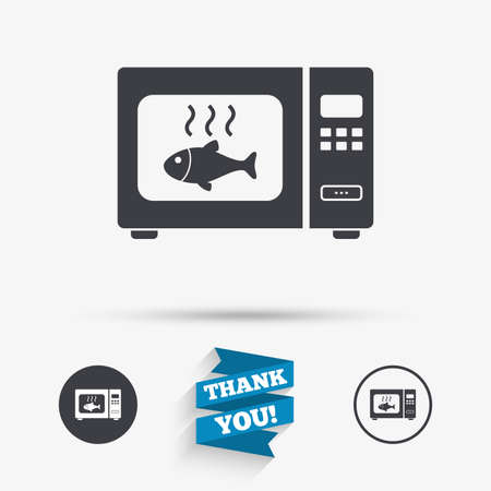 electric stove: Microwave oven sign icon. Grilled fish. Kitchen electric stove symbol. Flat icons. Buttons with icons. Thank you ribbon. Vector