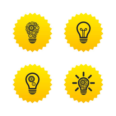 Light lamp icons. Lamp bulb with cogwheel gear symbols. Idea and success sign. Yellow stars labels with flat icons. Vector