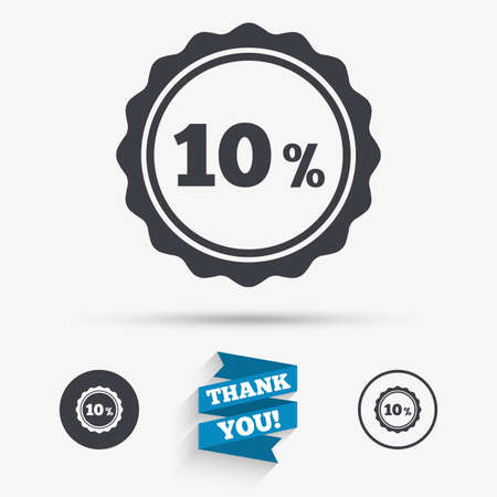 you are special: 10 percent discount sign icon. Sale symbol. Special offer label. Flat icons. Buttons with icons. Thank you ribbon. Vector