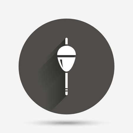 fishing tackle: Fishing sign icon. Float bobber symbol. Fishing tackle. Circle flat button with shadow. Vector