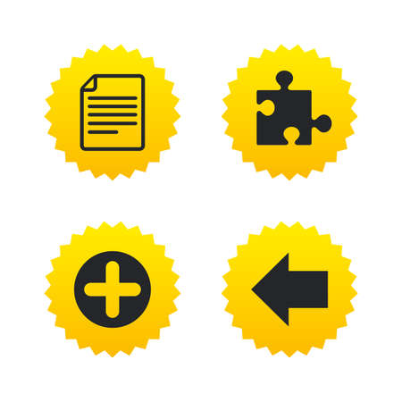 Plus add circle and puzzle piece icons. Document file and back arrow sign symbols. Yellow stars labels with flat icons. Vector