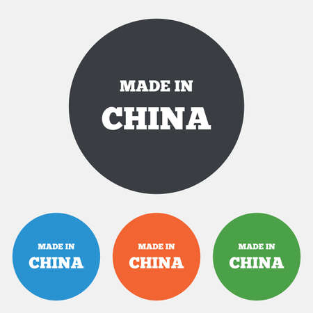 china icon: Made in China icon. Export production symbol. Product created in China sign. Round circle buttons. Vector