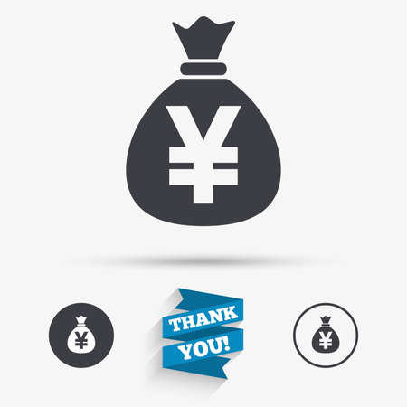 jpy: Money bag sign icon. Yen JPY currency symbol. Flat icons. Buttons with icons. Thank you ribbon. Vector