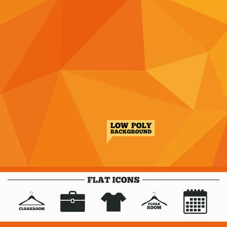 cloakroom: Triangular low poly orange background. Cloakroom icons. Hanger wardrobe signs. T-shirt clothes and baggage symbols. Calendar flat icon. Vector