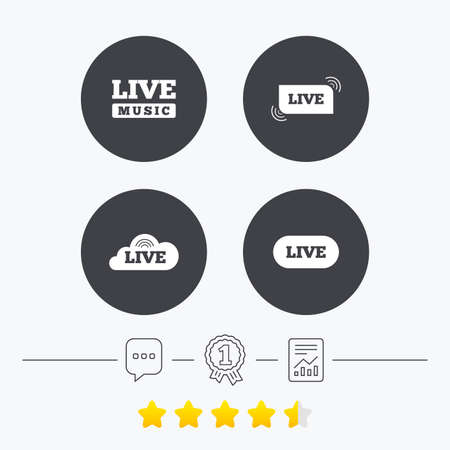 live stream sign: Live music icons. Karaoke or On air stream symbols. Cloud sign. Chat, award medal and report linear icons. Star vote ranking. Vector