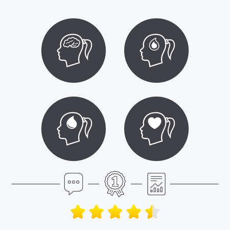 pigtail: Head with brain icon. Female woman think symbols. Blood drop donation signs. Love heart. Chat, award medal and report linear icons. Star vote ranking. Vector Illustration