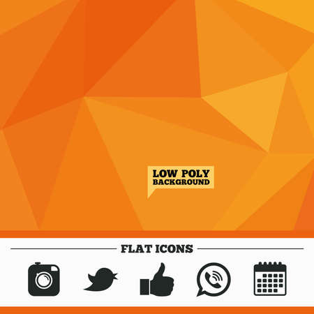 bubble background: Triangular low poly orange background. Hipster photo camera icon. Like and Call speech bubble sign. Bird symbol. Social media icons. Calendar flat icon. Vector Illustration