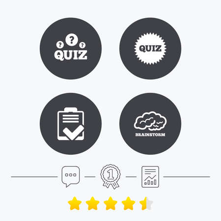 report form: Quiz icons. Brainstorm or human think. Checklist symbol. Survey poll or questionnaire feedback form. Questions and answers game sign. Chat, award medal and report linear icons. Star vote ranking. Vector