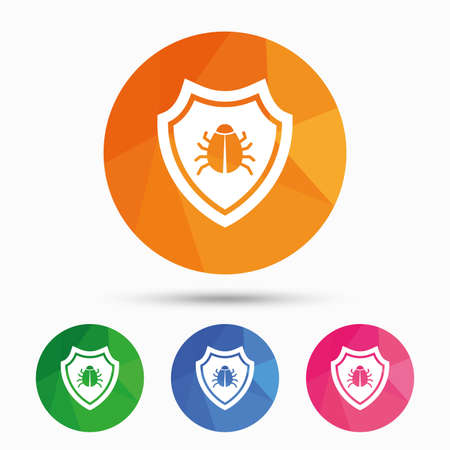 virus protection: Shield sign icon. Virus protection symbol. Bug symbol. Triangular low poly button with flat icon. Vector
